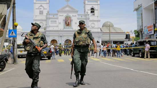 (AP Photo/Eranga Jayawardena)  ri Lankan Army soldiers secure the area around St. Anthony's Shrine after a blast in Colombo, Sri Lanka, Sunday, April 21, 2019.
