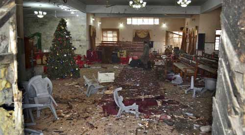 The main hall of a church following a suicide attack in Quetta, Pakistan. AP photo