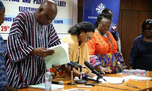 Ghana's fired three Electoral Commissioners:  Chairperson, Mrs Charlotte Osei (M), and her two deputies, Amadu Sulley (L), and Georgina Opoku Amankwah. Photo credit – 3new.