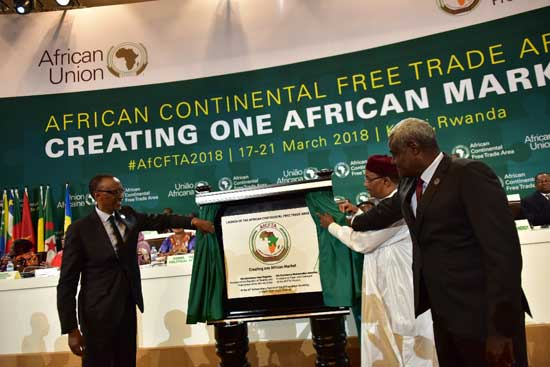 File - The African Continental Free Trade Area is a free trade area, outlined in the African Continental Free Trade Agreement among 52 of the 55 African Union nations. Founded: March 21, 2018