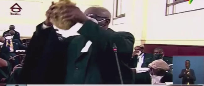 Ghana 2020 Presidential Election petition, lawyer's wig provides humorous moment in court.