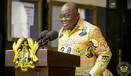 Special Guest of Honour, the President of Ghana, Nana Akufo-Addo delivering his speech at the 90th anniversary celebration of Achimota School.