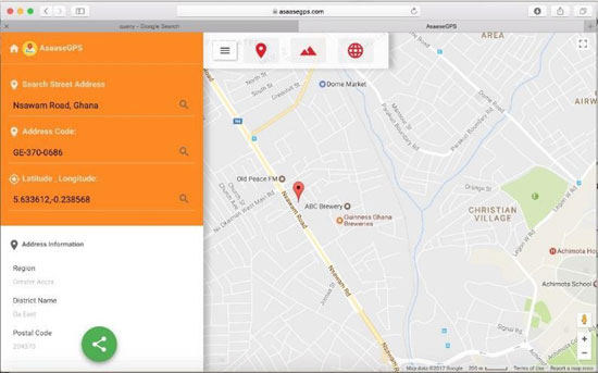 A screen grab of the Asaase GPS App