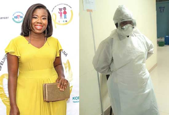 Dr Hilda Boye (left) and in full personal protective gear for COVID-19 duties (right)