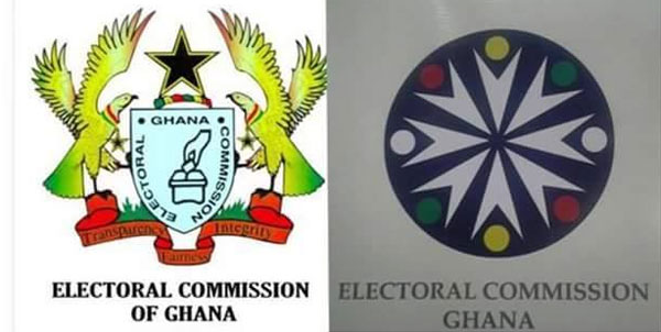 Old Electoral Commission logo (R) and the new logo introduced under Charlotte Osei.