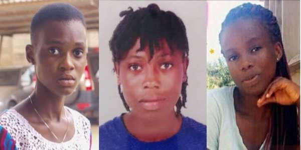 From left: Priscilla Koranchie, 15, Priscilla Blessing Bentum, 21, and Ruth Love Quayson, 18