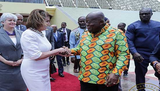 President Akufo-Addo and Ms Nancy Pelosi (1st left) when the latter visited Ghana