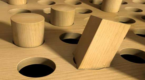 Square Pegs In Round Holes. Image credit: Different Brains