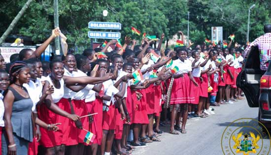 File image – In this undated image, students of Bolgatanga Girls SHS line up to greet President Nana Akufo-Addo during a visit to Bolga.