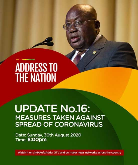 Full Text: Address To The Nation By The President Of The Republic, Nana Addo Dankwa Akufo-Addo, On Updates To Ghana's Enhanced Response To The Coronavirus Pandemic (Update No. 16)