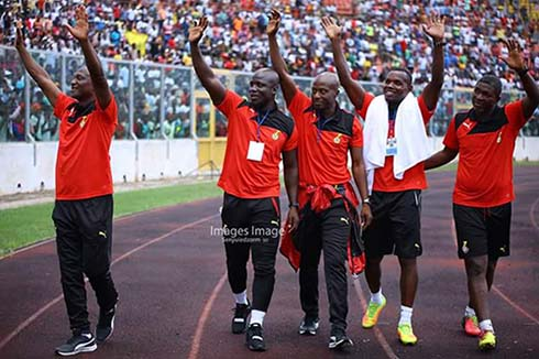 Black Stars Boss, Kwasi Appiah (1st left) and members of his technical team take a victory lap after his side's 5-0 demolition of their Ethiopian counterparts in the first leg of the AFCON 2019 qualifier match played at the Baba Yara Stadium on June 11, 2017. Photo - S. A. Adadevoh