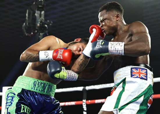 Isaac Dogboe knocks out Chris Avalos. Image credit - smilecelebs