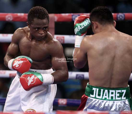 File image - Isaac Dogboe drops Cesar Juarez in five rounds for WBO Interim title.