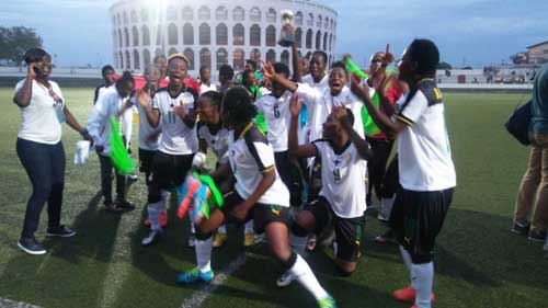 Ghana's Black Queens celebrate winning the 2018 WAFU tournament. File image