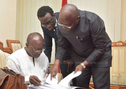 VP Bawumia reviews the 2018 budget with Finance Minister Ken Ofori-Atta and a special aide. – File image