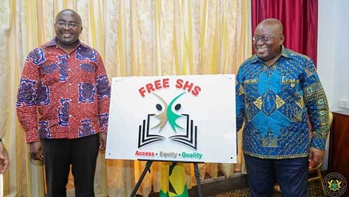 President Akufo-Addo and Vice President M. Bawumia posing with the newly minted free SHS logo. Photo credit – presidency dot gov.