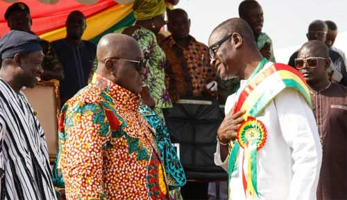 2018 National Best Farmer Mr James Obeng Boateng (R) with President Akufo-Addo