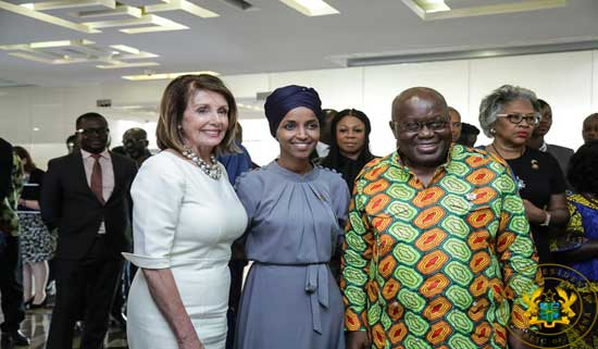 Speaker of the US House of Representatives Nancy Pelosi (L), Ilhan Abdullahi Omar Representative for Minnesota's 5th congressional district (M) and President Nana Akufo-Addo.