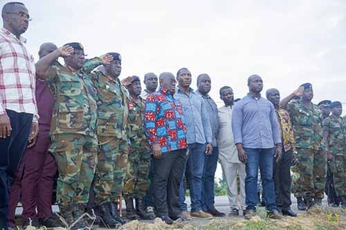 President Akufo-Addo at the site where Major Maxwell Mahama died
