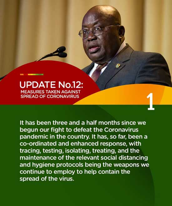 President Nana Akufo Addo: Measures to contain the spread of COVID-19 (Update No.12)