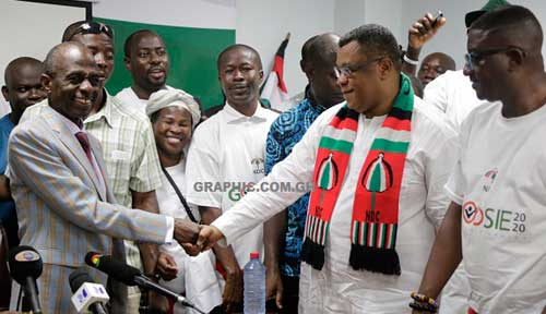 Mr Johnson Asiedu Nketia (left), General Secretary, NDC, exchanging pleasantries with Mr Augustus Goosie Tanoh (2nd right) after declaring his intention to the party. Picture: EMMANUEL ASAMOAH ADDAI