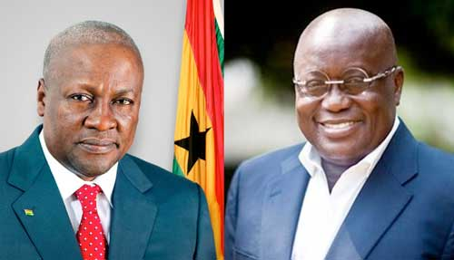 "John Mahama (L) replies Nana Addo on ""ghost projects"". Image credit - graphiccomgh"