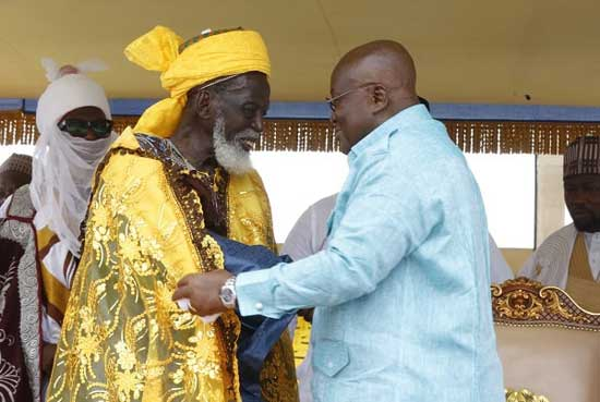 President Nana Addo Dankwa Akufo-Addo (right), welcoming Dr Osman Nuhu Sharabutu (left), National Chief Imam to the 2019 EID FITR at the Independence Square in Accra.