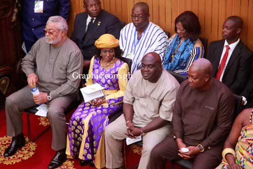 Former President Rawlings (L) with his wife Nana Konadu Agyemang Rawlings, former Chief of Staff Julius Debrah and former President John Mahama at the chamber of Parliament on Thursday morning during the SONA. Pictures by SAMUEL TEI ADANO and EMMANUEL ASAMOAH ADDAI