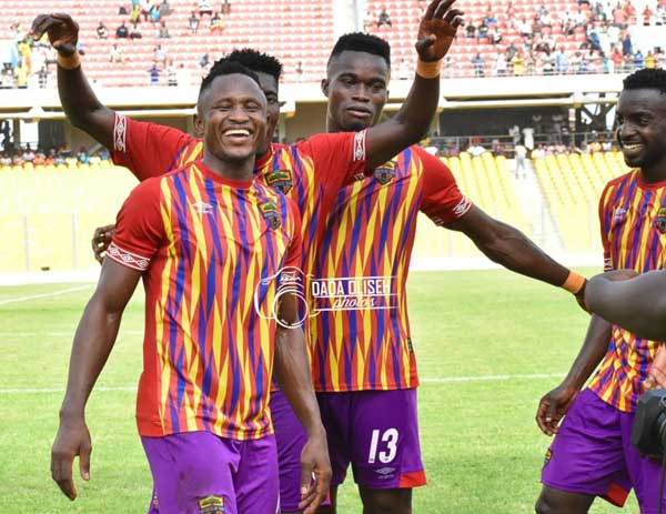Hearts of Oak players celebrate a goal over Ebusua Dwarfs in their Week 03 encounter played at the Accra Sports Stadium on January 12th, 2020. Image credit – Dada Oliseh photos