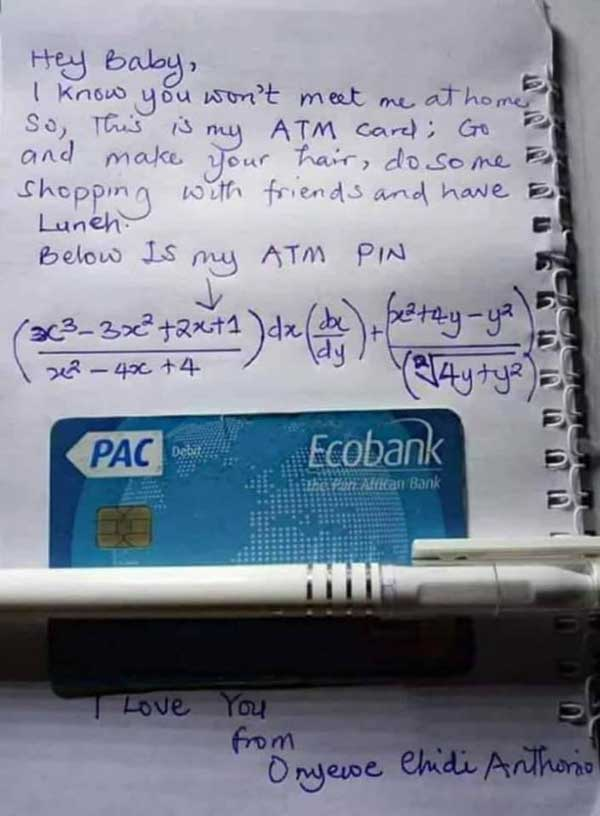 Man gives girlfriend mathematical formula to his ATM card
