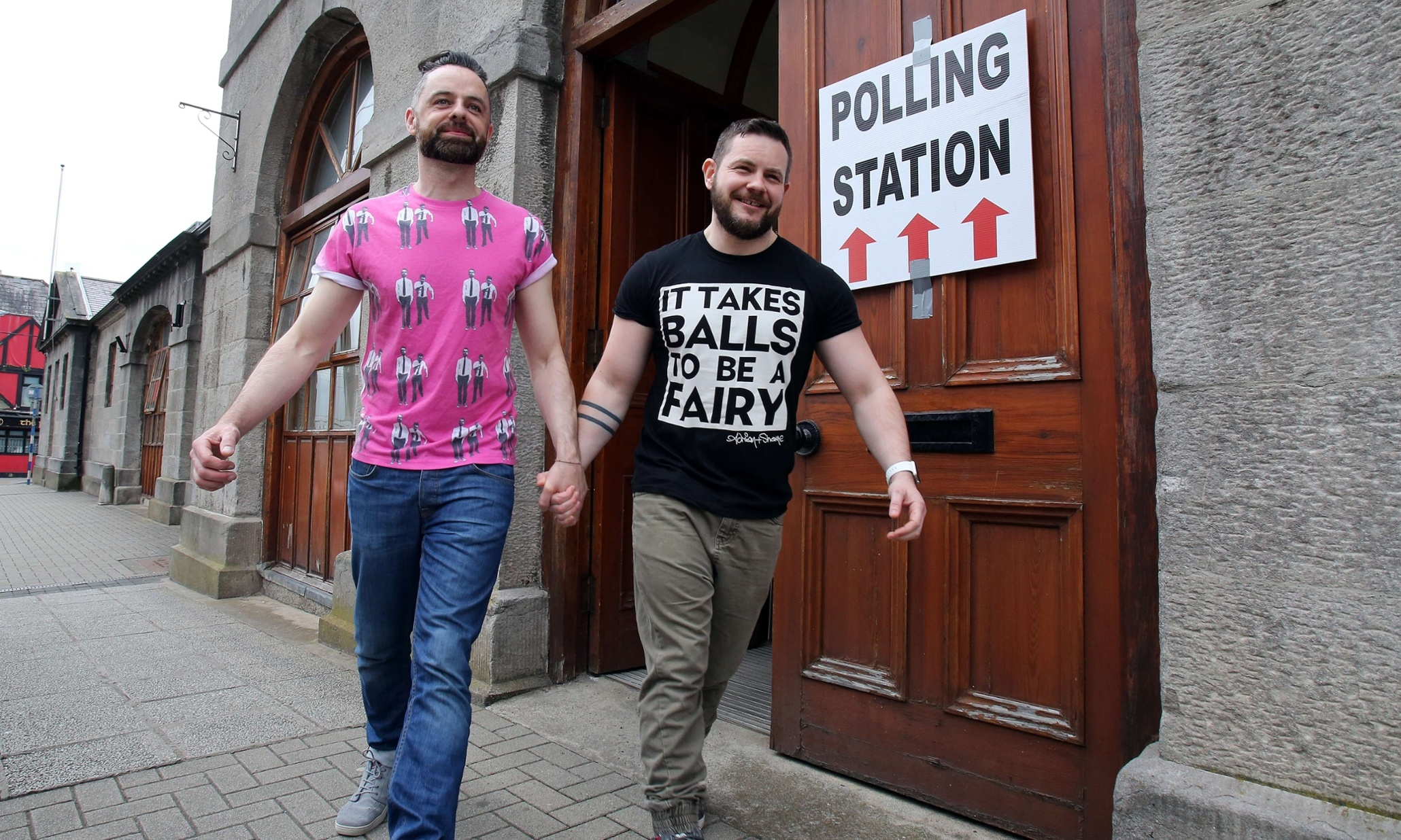 Partners Adrian and Shane after casting their vote in Drogheda, County Louth