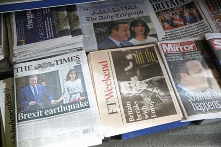 Newspapers are displayed for sale the day after Britain voted to leave the EU, at a newsagents in central London, Britain June 25, 2016