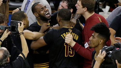 LeBron James and teammates celebrate their historic NBA 2016 Game 7 win over defending champions –  Golden State Warriors.