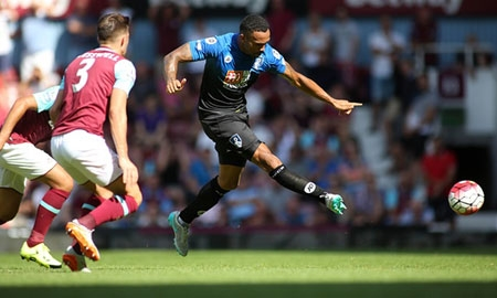 Callum Wilson scores his second goal of the afternoon en-route to a hat trick