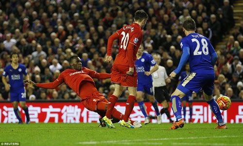 Benteke (left) fired the hosts ahead on 63 minutes with this right-footed effort inside the Leicester penalty area