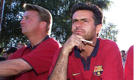 File - Louis van Gaal (R) and José Mourinho (L) at Barcelona