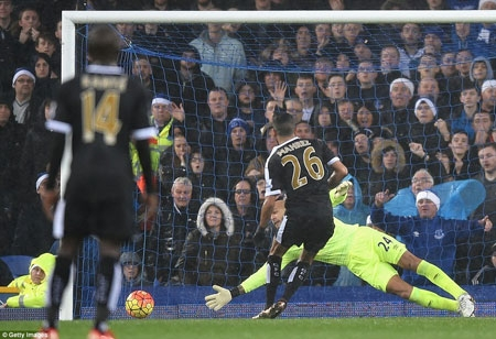 Riyad Mahrez converts his first of of two goals from the penalty spot