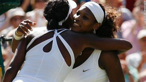 Venus (back to camera) and Serena Edge Closer to Another All-Williams Final at Wimbledon 2016