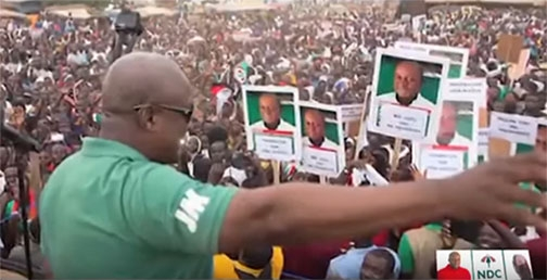 A screen grab of Prez. John D. Mahama addressing a rally in the song Onaapo.
