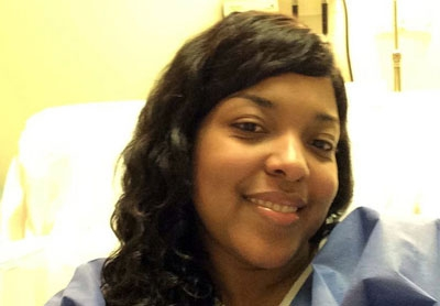 Amber Vinson photographed in her Atlanta hospital room last week.