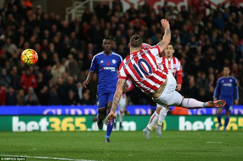 26-year-old former Werder Bremen forward Marko Arnautovic improvises with an athletic effort as he powered a volley past Chelsea keeper Begovic