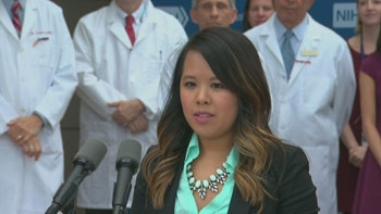 Library photo:Nurse Nina Pham at a press conference after her discharge from NIH