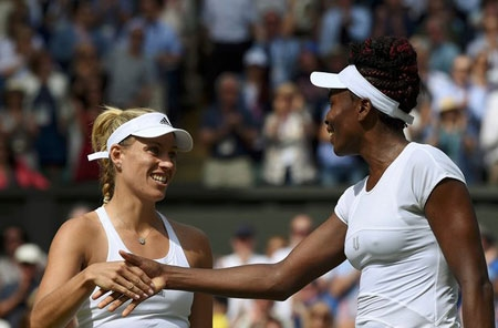 Angelique Kerber shakes hands with Venus Williams after winning their match.