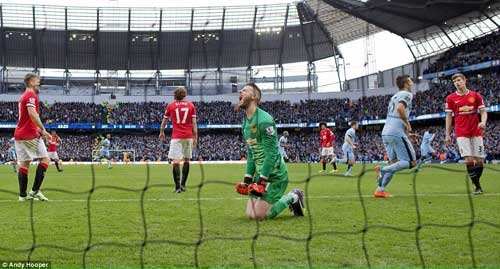 De Gea screams in frustration after conceding the lone goal of the match.