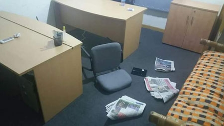A picture of one of the offices at the institute after the raid which followed the arrest of the three South African ex-Police officers in the country for training private security personnel for the opposition New Patriotic Party's Presidential Candidate.