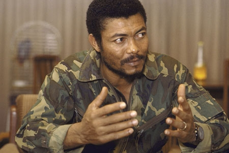 Former head of state and president of Ghana. Jerry John Rawlings initially came to power in Ghana as a flight lieutenant of the Ghana Air Force following a coup d'état in 1979.