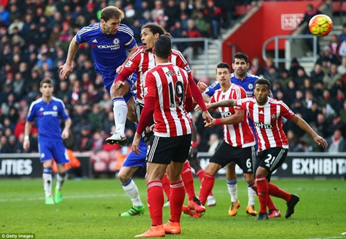 Branislav Ivanovic (left) climbs above Virgil van Dijk to power Chelsea into the lead with a bullet header in the 89th minute