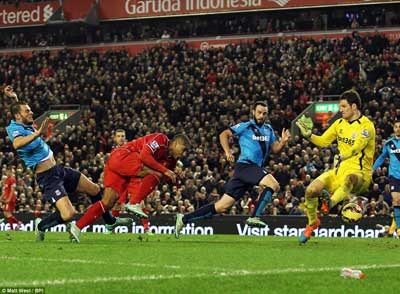 Liverpool's Glen Johnson strikes late with a header to give his side a much-needed 1-0 victory over Stoke City at Anfield