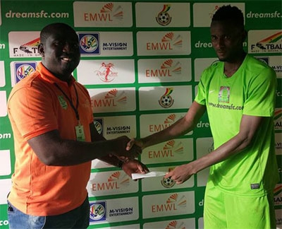 Midfielder Emmanuel Lomotey receives an award after being voted Man of the match following their Match Day 6 lone goal victory over WAFA.