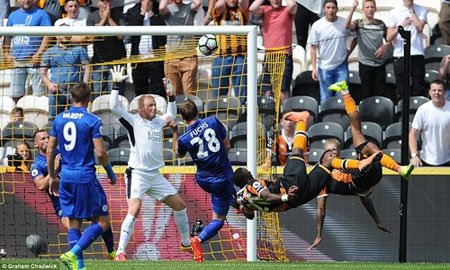 Hull opened the scoring against Leicester but there was confusion over who actually netted the first goal of the new season